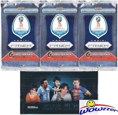 2018 PANINI PRIZM FIFA World Cup Soccer Lot of (3) Sealed PRIZM HOBBY  Pack+MESSI
