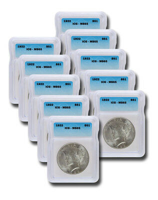 Silver Peace Dollar ICG MS65 S$1 Lot of 10 Dates from 1922 to 1925 Our Choosing