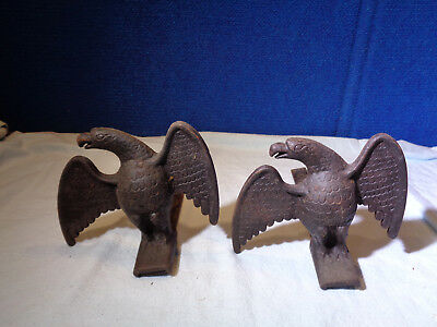 Architectural Antique Pair of Cast Iron American Eagles Snow Birds Roof Guards