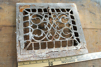 Vintage 1900 Cast Iron Furnace Wall Grate Vent Ornate Victorian Queen Ann Crusty