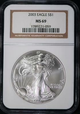 2003 NGC MS69 American Silver Eagle Item#M3334