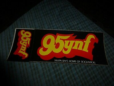 "Vintage 95YNF Tampa Obsolete Radio Station Bumper STICKER 9"" Rare"
