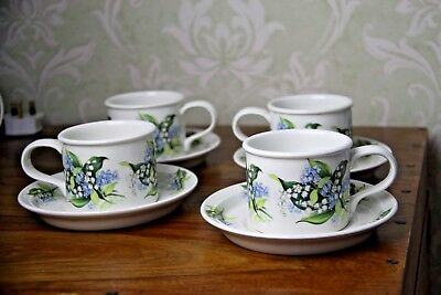 portmeirion cups & saucers in lily of the valley