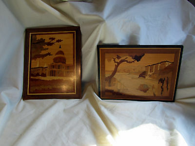 2 Vintage Wood Inlaid Marquetry Pictures