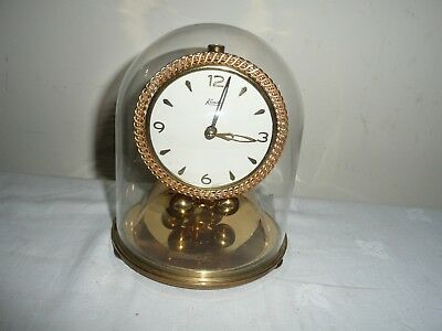 Vintage, Kundo Anniversary Clock in Glass Dome, Miniature Movement. V G Cond