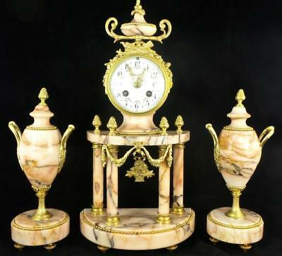 Antique 19th c French S.Marti Gilt ormolu Bronze Marble Portico Mantel Clock Set