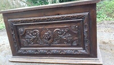 Stunning Carved Antique 18Thc Chest Made Into A Desk In 19Thc From Saint Lo