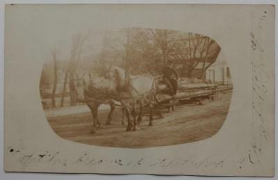 Antique Real Photo Postcard Winter Dappled Horses Hauling Logging Maine 1906