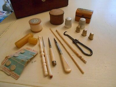 Collection of Antique and Vintage Needlework Tools + Mauchline Box (H)