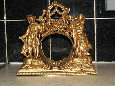 ANTIQUE FRENCH METAL CLOCK FRAME with 2 Figurines MEN and WOMEN