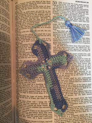 Handmade crochet cross bible bookmark OCEAN  bookmarks Easter gift