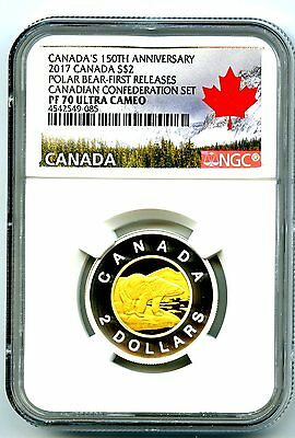 2017 Canada 150Th Anniv Polar Bear Toonie Ngc Pf70 Gilt Silver Proof Two Dollar