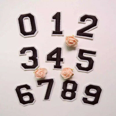 """Embroidered Black DIY Number 0-9 Iron On Sew on Patch Applique 2"""" height"""
