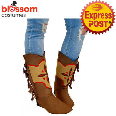 AS162 Brown Suede Cowgirl Womens Boot Shoes Covers Western Costume Accessory