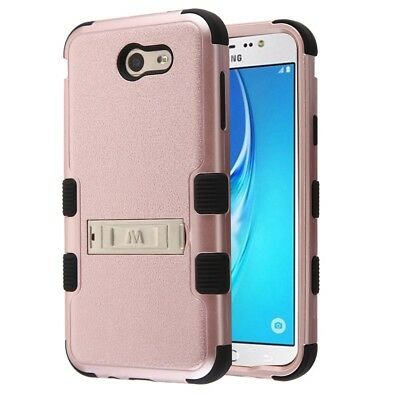 Samsung Galaxy J7 Prime J727T 2017/Halo Rose Gold Tuff 3-Piece Stand Case Cover