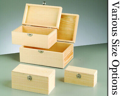 Wooden Lidded Boxes with Clasps to Decorate for Crafts Choice of Size