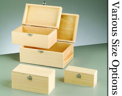 Wooden Lidded Boxes with Clasps to Decorate - Choice of Size