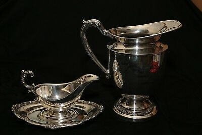 Antique or Vintage MFG Corp English Silver Pitcher & Gravy Boat Bowl