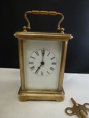 Gorgeous Antique  French Carriage Clock  W/ Porcelain Dial & Key S F R A  FRANCE