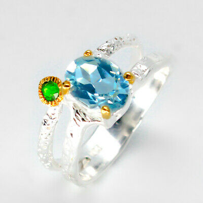 14k Gold solid fashion jewelry Natural Blue Topaz 925 Sterling Silver Ring RVS41