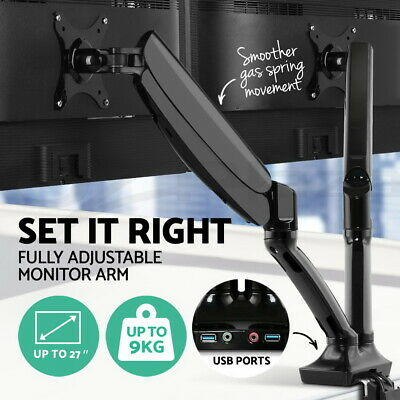 Dual HD LED Desk Mount Monitor Stand 2 Arm TV Holder Gas Spring USB Audio Ports