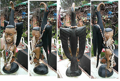 Carved Statue from Sepik River Papua New Guinea Fertility theme  great collectab