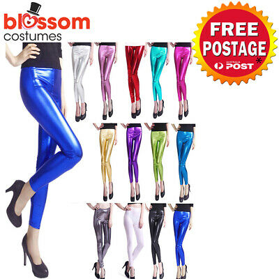 K608 70s 80s Metallic Neon Shiny Glossy Legging Skinny Disco Dance Costume Pants