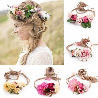 Women Beach Wedding Flower Wreath Crown Headband Floral Garlands Hair Band TU