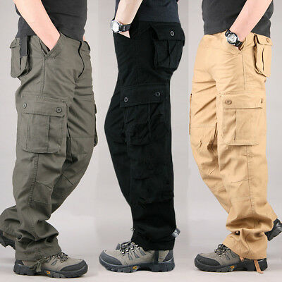 Mens Cargo Military Trousers Multi Pocket Army Combat Pants & New Boys Trousers
