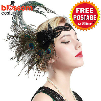 K609 Peacock Gatsby Headpiece Flapper 1920s Costume Headband Headdress Feather