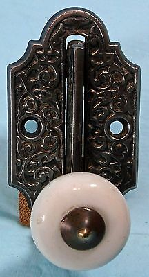 FANCY ANTIQUE VICTORIAN CAST IRON DOOR KNOCKER w/PORCELAIN KNOB