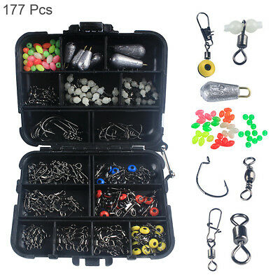 177pc/set Fishing Access Kit Crank Hook Snaps Connector Beads Sinker Tackle Box