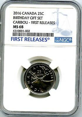 2016 Canada 25 Cent Birthday Quarter Ngc Ms68 First Releases Top Pop None Higher