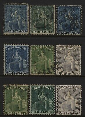 Barbados Collection 9 Early Britannia Stamps Used