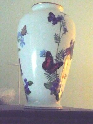 "Franklin Mint Porcelain Meadowland Butterfly Vase John Wilkinson -11"" Tall"