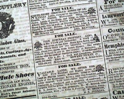Rare SLAVES ADVERTISEMENTS Negroes in Memphis TN ANTEBELLUM 1859 Old Newspaper