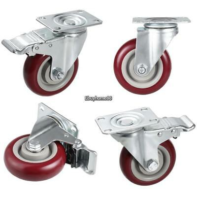 """4 Pcs/set 4"""" Office Home Chair Rubber Caster Wheel Swivel For Shipping Cart Red"""