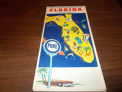 1960 Pure Oil Florida Vintage Road Map