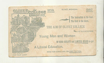 1892 Olivet College Olivet Michigan Unused Ink Blotter