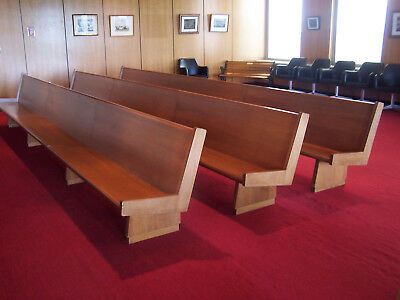 """used"" Lot Of 3 - 18' Long  Church Pews/courtroom Benches   -Pickup Only!"