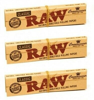 RAW Classic Natural Unrefined Rolling Papers Hemp Connoisseur ~ Pack of 4 ~