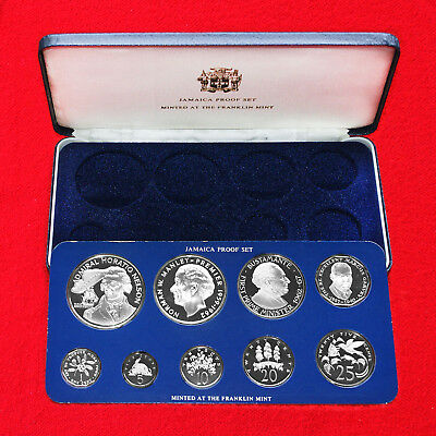 1976 Coins Of Jamaica (9 Coin) Silver Proof Set Franklin Mint Issue Outstanding