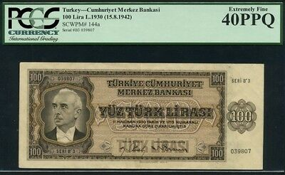 Turkey 100 lira 1942 PMG 40 PPQ