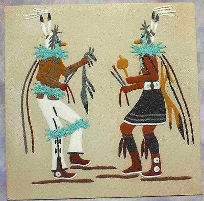 "Large 12"" Square Navajo Southwestern SAND PAINTING ""Yei Be Chai Dancers"""