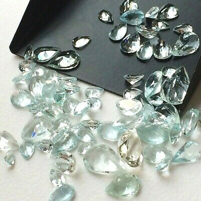 Lot of 6x4mm to 9x6mm Pear Facet Natural Aquamarine Loose Calibrated Gemstone