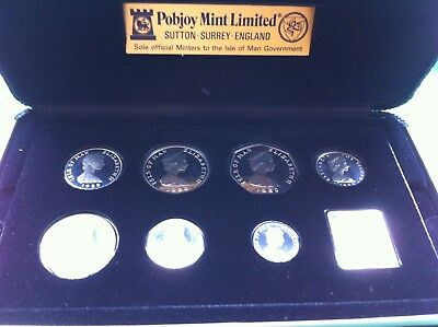 Isle of Man 1980 Deluxe Proof Decimal coin set in Sterling Silver 10,000 Issued