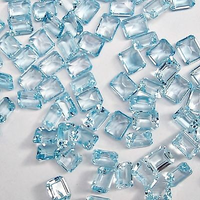 Wholesale Lot of 8x6mm Emerald Cut Natural Blue Topaz Loose Calibrated Gemstone
