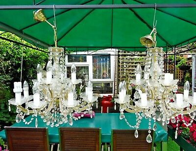 Lovely Large Pair Of Good Quality Glass 12 Arm Double Tired Chandeliers.