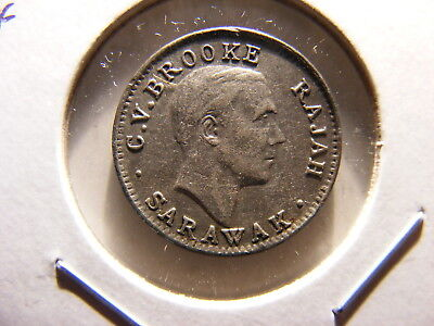 Sarawak 1920-H Silver 5 Cents, One Year Type, VF+/XF, Scarce Issue