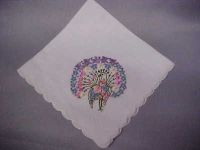 1 Lady's Peacock Embroidered on linen coloful w scallop edge free ship